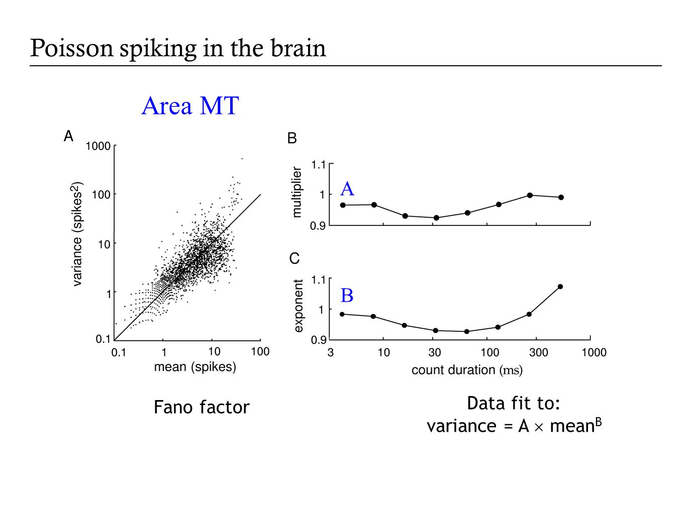 Fano factor Data fit to: variance = A  mean B A B Area MT Poisson spiking in the brain