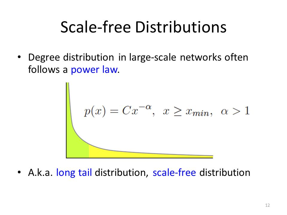 Scale-free Distributions Degree distribution in large-scale networks often follows a power law. A.k.a. long tail distribution, scale-free distribution