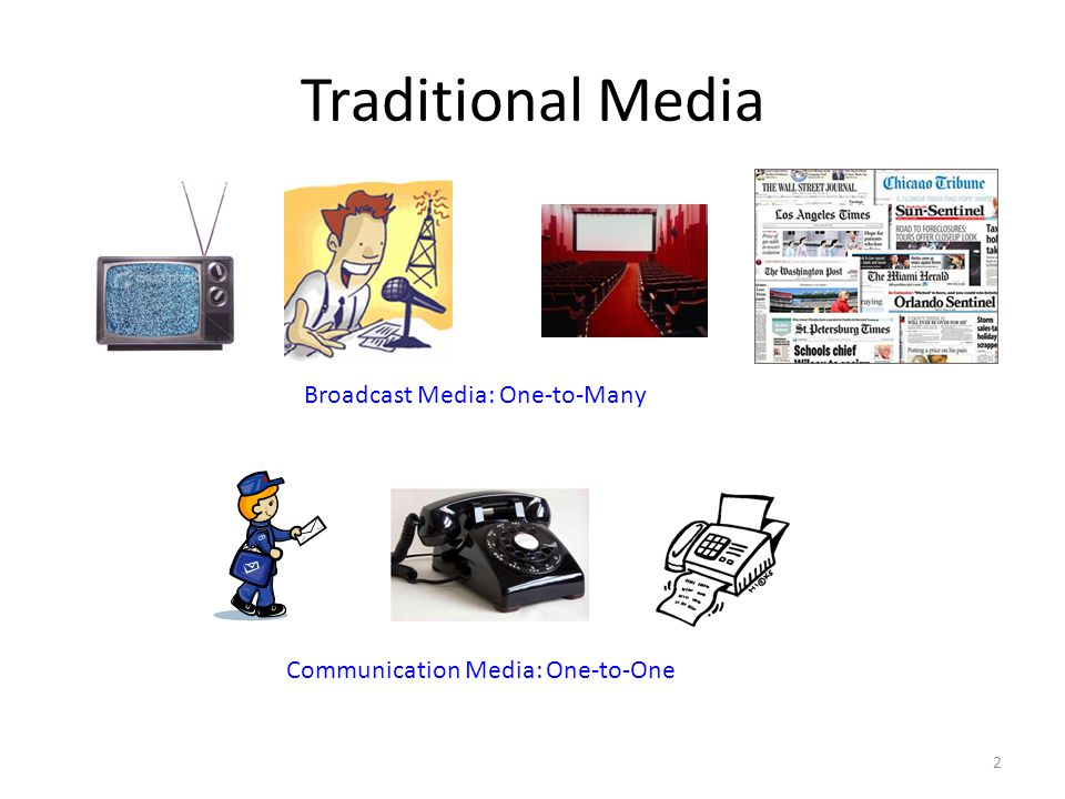 Traditional Media Broadcast Media: One-to-Many Communication Media: One-to-One 2
