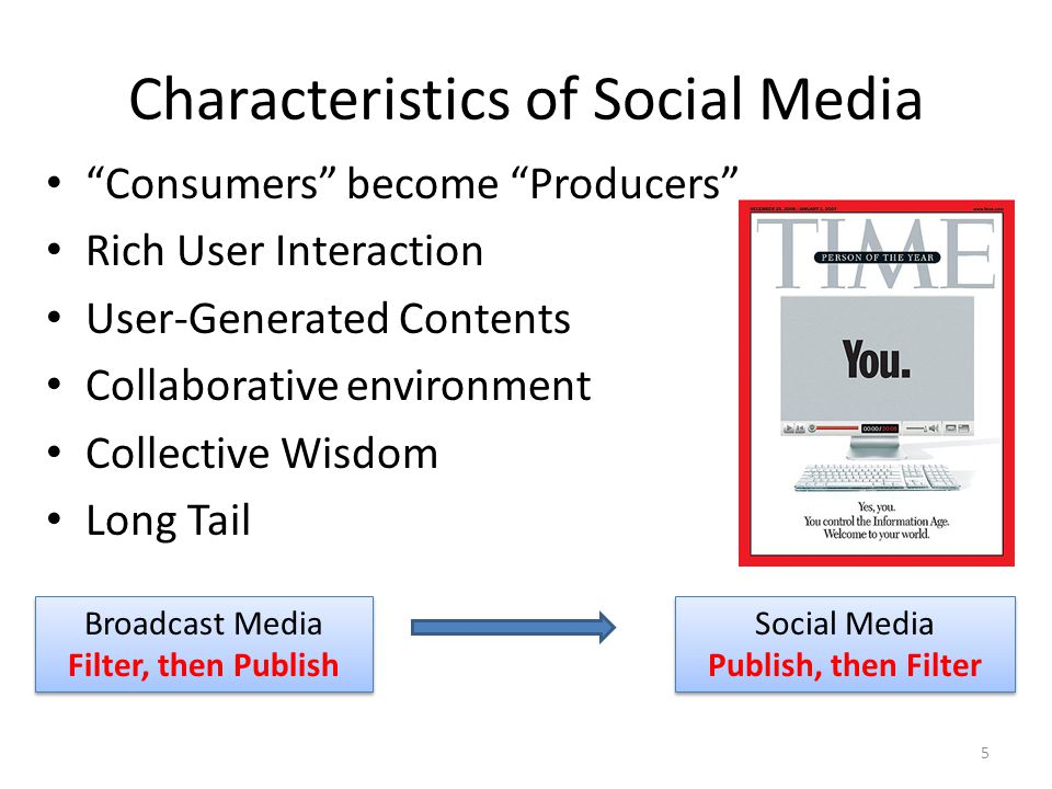 "Characteristics of Social Media ""Consumers"" become ""Producers"" Rich User Interaction User-Generated Contents Collaborative environment Collective Wisd"