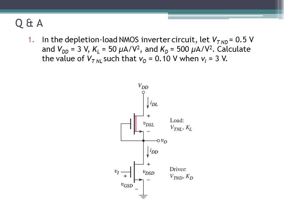 Q & A 1.In the depletion-load NMOS inverter circuit, let V T ND = 0.5 V and V DD = 3 V, K L = 50 μA/V 2, and K D = 500 μA/V 2. Calculate the value of