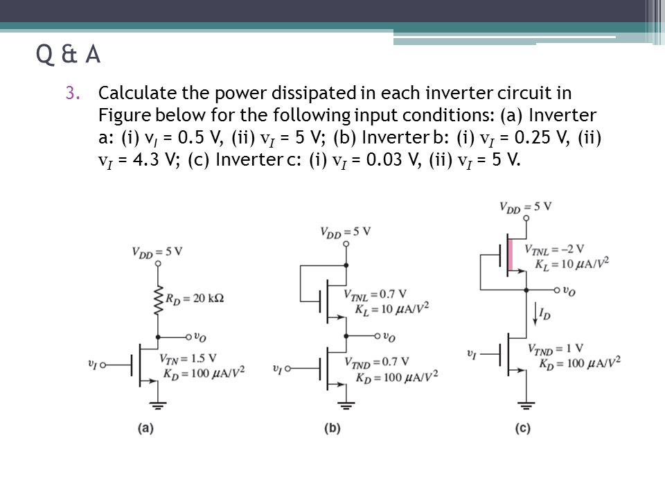 Q & A 3.Calculate the power dissipated in each inverter circuit in Figure below for the following input conditions: (a) Inverter a: (i) v I = 0.5 V, (