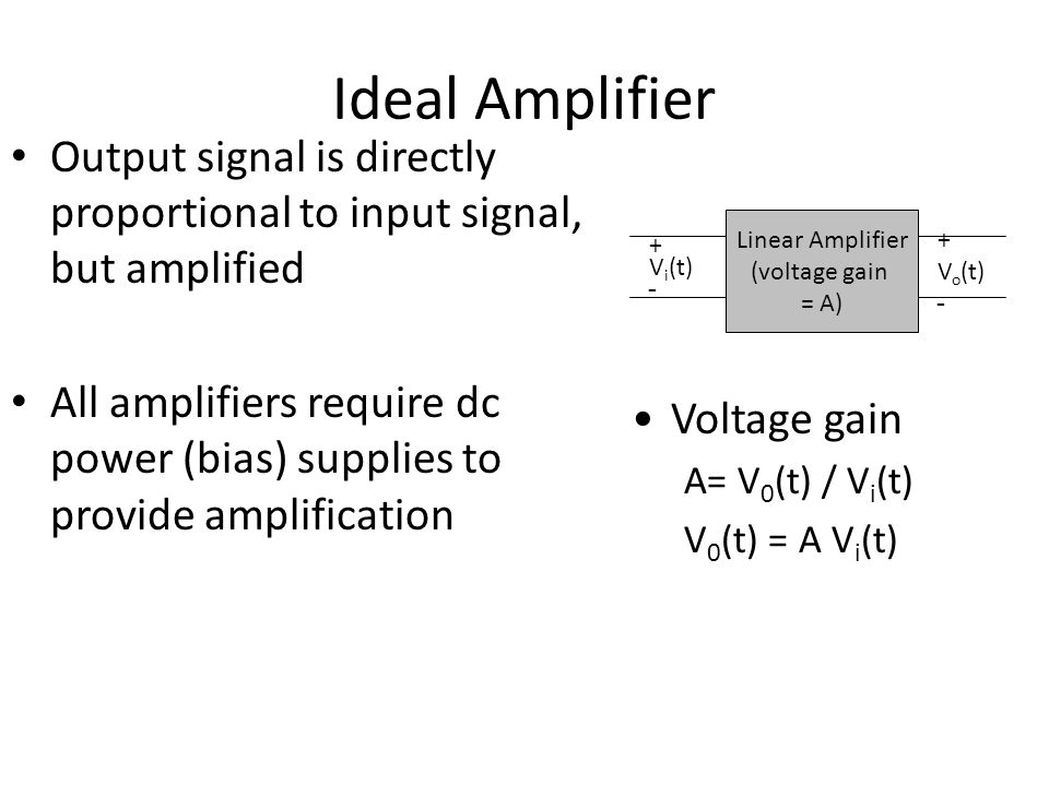 Ideal Amplifier Output signal is directly proportional to input signal, but amplified All amplifiers require dc power (bias) supplies to provide ampli