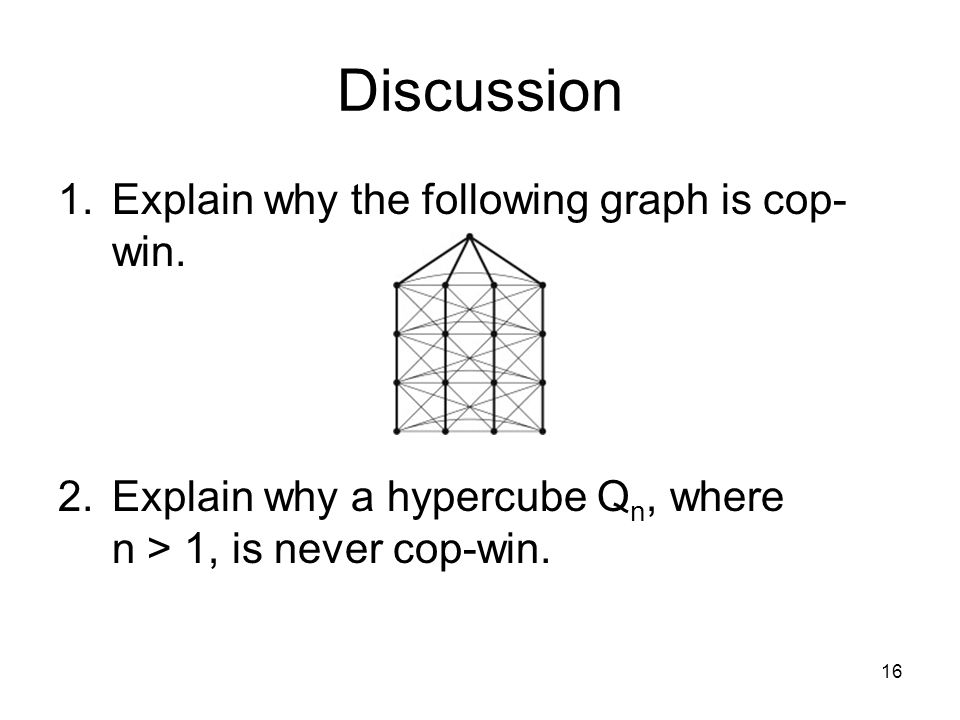Discussion 1.Explain why the following graph is cop- win.