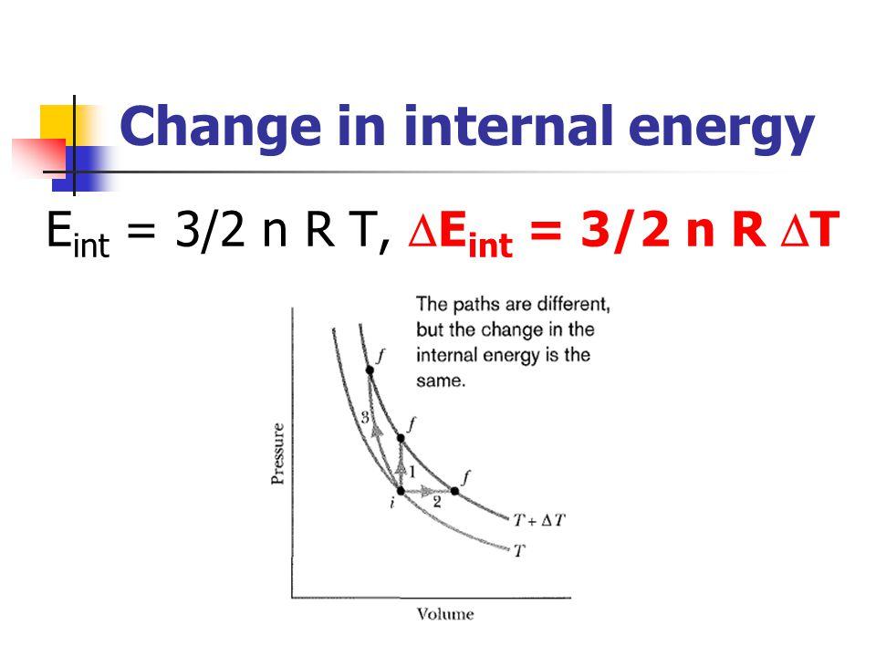 Change in internal energy E int = 3/2 n R T,  E int = 3/2 n R  T