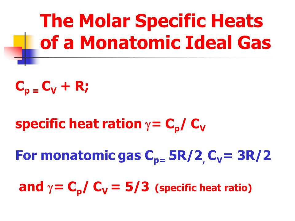 The Molar Specific Heats of a Monatomic Ideal Gas C p = C V + R; specific heat ration  = C p / C V For monatomic gas C p= 5R/2, C V = 3R/2 and  = C