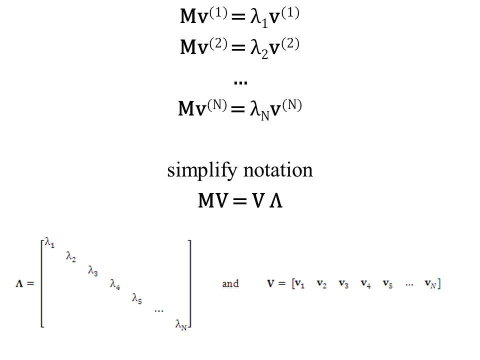 Mv (1) = λ 1 v (1) Mv (2) = λ 2 v (2) … Mv (N) = λ N v (N) simplify notation MV = V Λ
