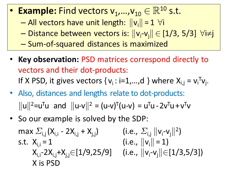 Key observation: PSD matrices correspond directly to vectors and their dot-products: If X PSD, it gives vectors { v i : i=1,…,d } where X i,j = v i T