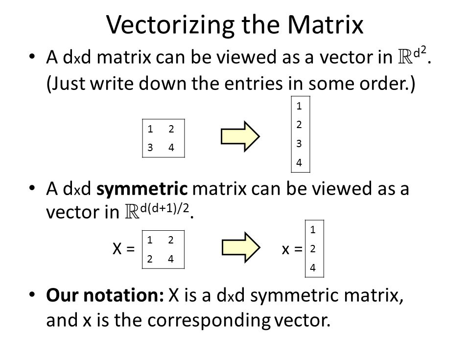 Vectorizing the Matrix A d x d matrix can be viewed as a vector in R d 2. (Just write down the entries in some order.) A d x d symmetric matrix can be