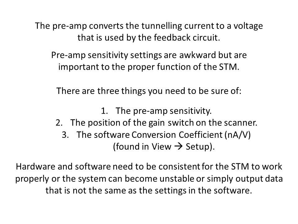 The pre-amp converts the tunnelling current to a voltage that is used by the feedback circuit. Pre-amp sensitivity settings are awkward but are import