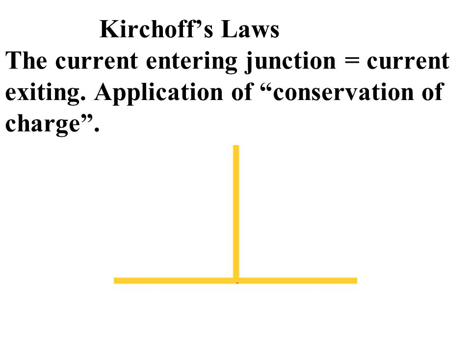 "Kirchoff's Laws The current entering junction = current exiting. Application of ""conservation of charge""."