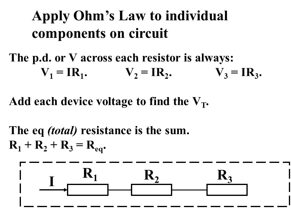 The p.d. or V across each resistor is always: V 1 = IR 1.V 2 = IR 2. V 3 = IR 3. Add each device voltage to find the V T. The eq (total) resistance is