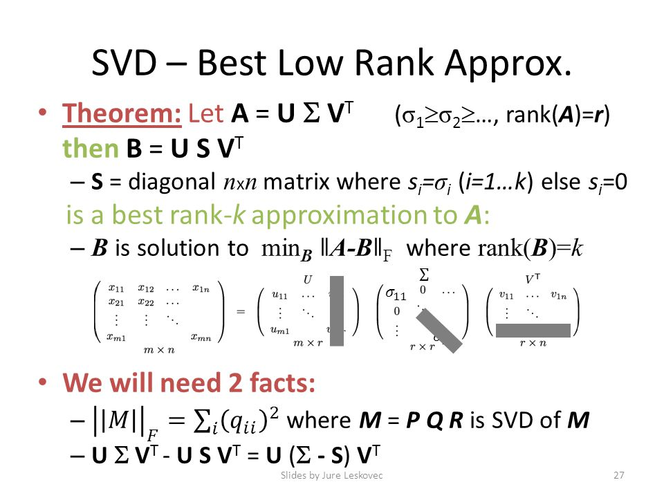 SVD – Best Low Rank Approx. Slides by Jure Leskovec27