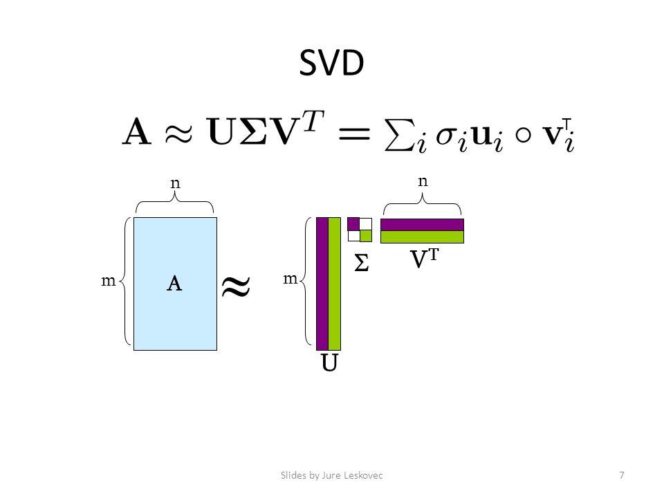 SVD Slides by Jure Leskovec7 A m n  m n U VTVT  T