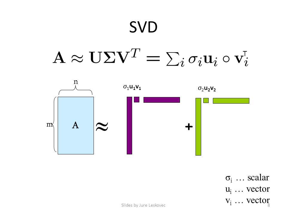 SVD Slides by Jure Leskovec8 A m n  + 1u1v11u1v1 2u2v22u2v2 σ i … scalar u i … vector v i … vector T