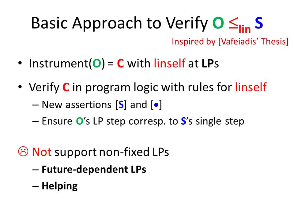 Basic Approach to Verify O  lin S Instrument(O) = C with linself at LPs Verify C in program logic with rules for linself – New assertions [S] and [  ] – Ensure O's LP step corresp.