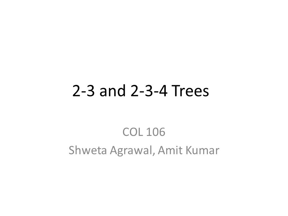 Multi-Way Trees A binary search tree: – One value in each node – At most 2 children An M-way search tree: – Between 1 to (M-1) values in each node – At most M children per node
