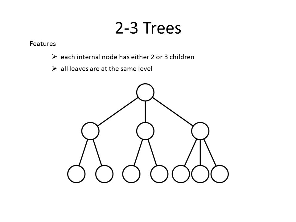 2-3 Trees  each internal node has either 2 or 3 children  all leaves are at the same level Features