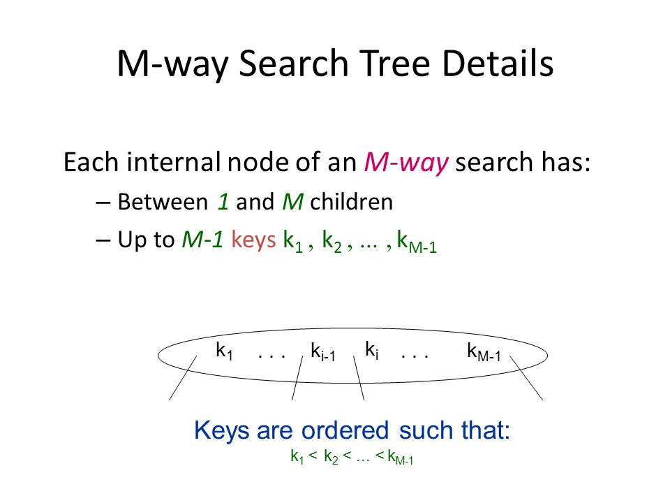 M-way Search Tree Details Each internal node of an M-way search has: – Between 1 and M children – Up to M-1 keys k 1  k 2  k M-1 Keys are orde