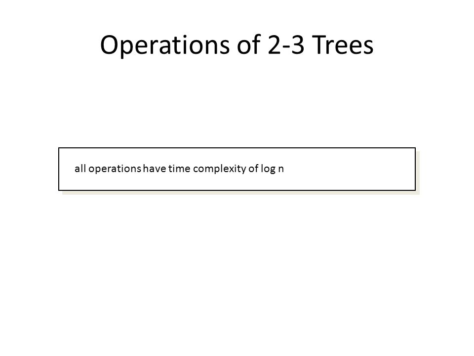 Operations of 2-3 Trees all operations have time complexity of log n