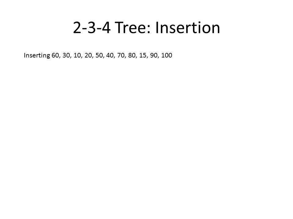 2-3-4 Tree: Insertion Inserting 60, 30, 10, 20...... 50, 40...