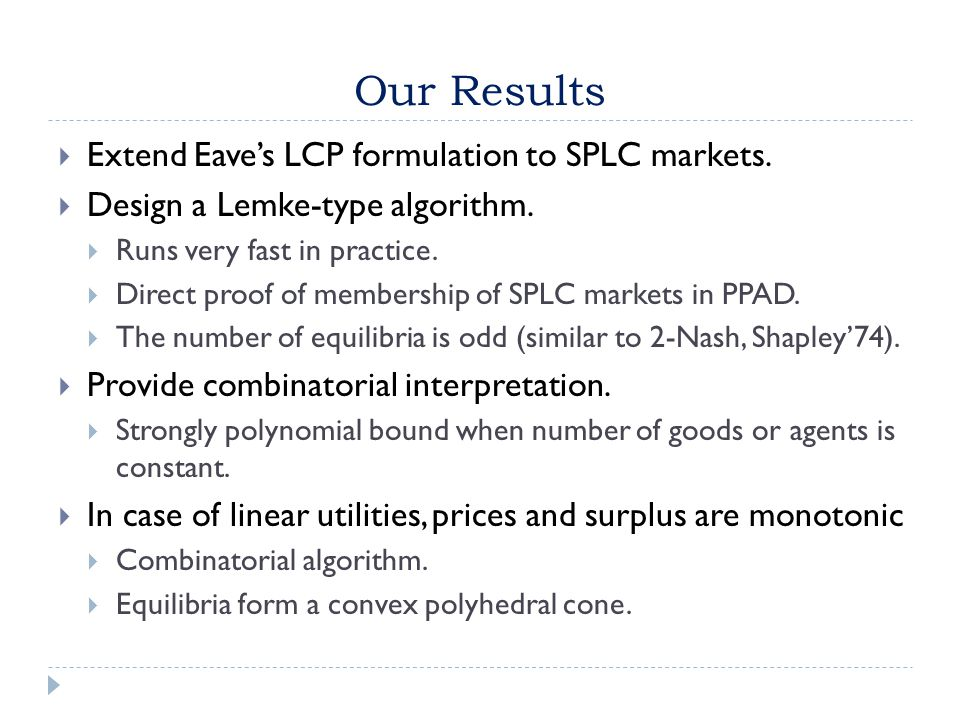 Our Results  Extend Eave's LCP formulation to SPLC markets.