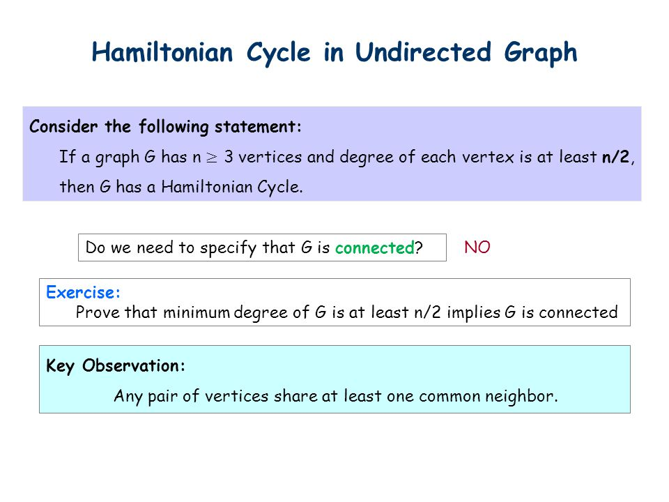 Hamiltonian Cycle in Undirected Graph Do we need to specify that G is connected.