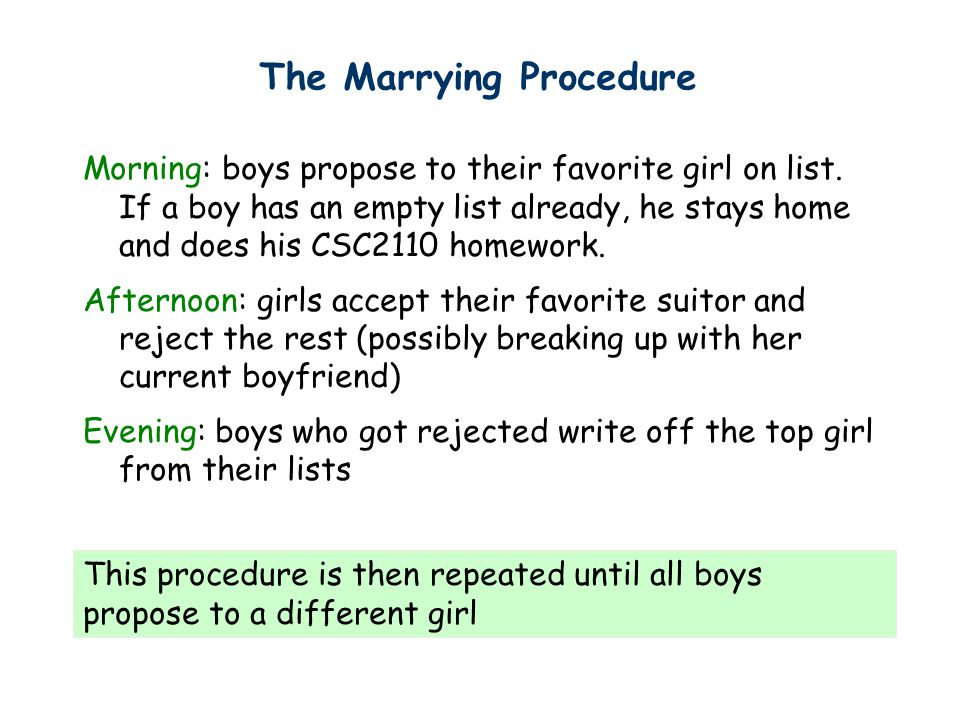 Morning: boys propose to their favorite girl on list.
