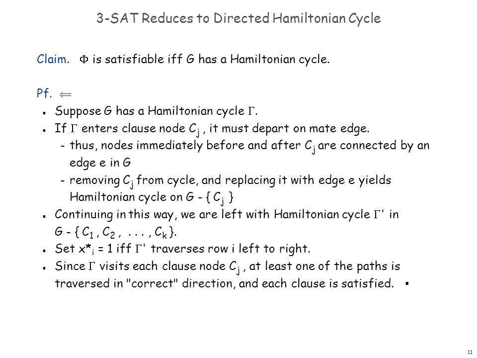 11 3-SAT Reduces to Directed Hamiltonian Cycle Claim.