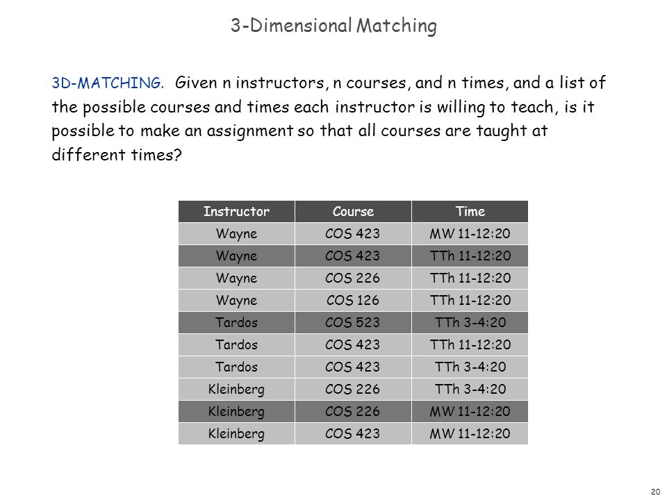 20 3-Dimensional Matching 3D-MATCHING. Given n instructors, n courses, and n times, and a list of the possible courses and times each instructor is wi