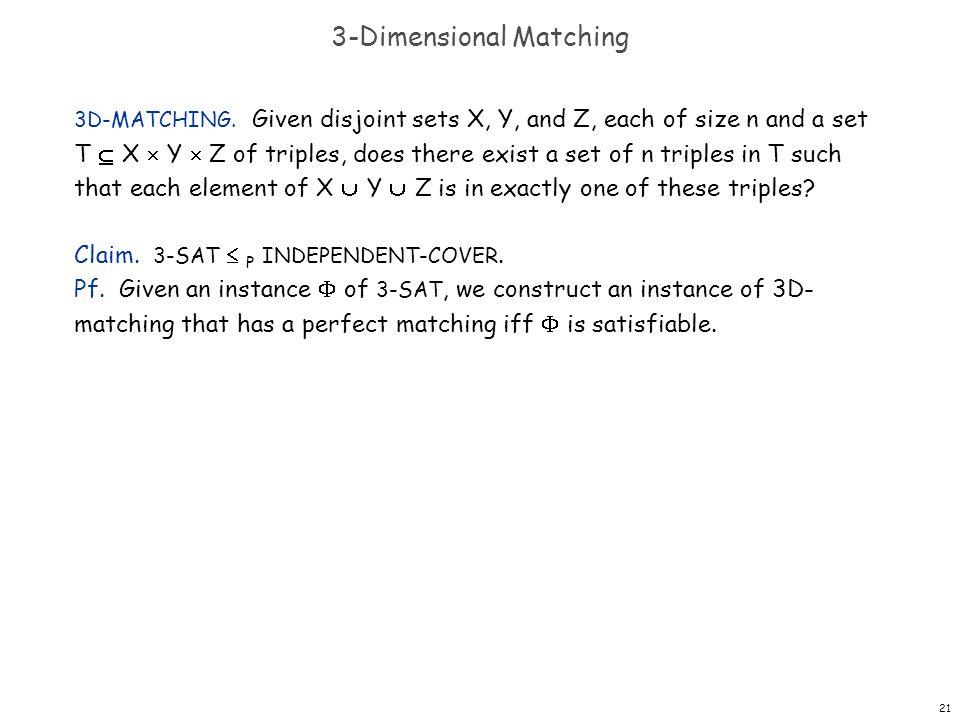 21 3-Dimensional Matching 3D-MATCHING.