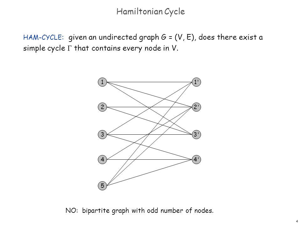 5 Directed Hamiltonian Cycle DIR-HAM-CYCLE : given a digraph G = (V, E), does there exists a simple directed cycle  that contains every node in V.