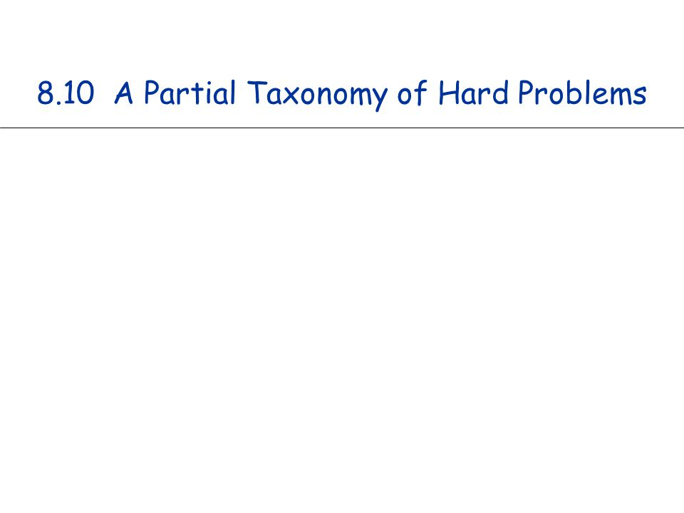 8.10 A Partial Taxonomy of Hard Problems