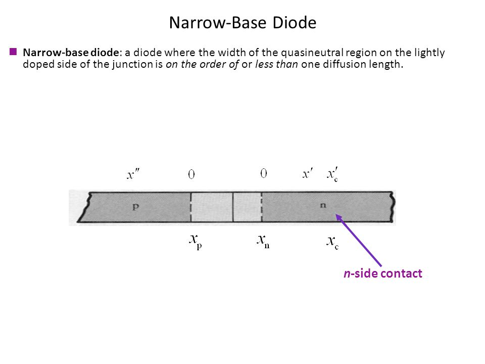 Narrow-Base Diode n-side contact Narrow-base diode: a diode where the width of the quasineutral region on the lightly doped side of the junction is on the order of or less than one diffusion length.
