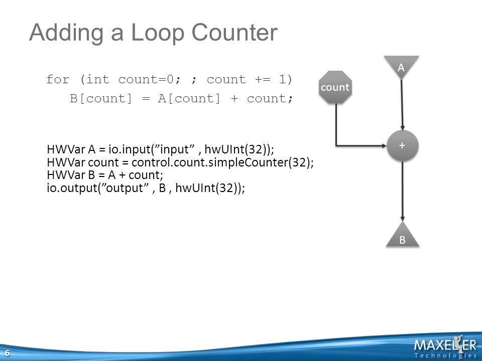 Adding a Loop Counter 6 HWVar A = io.input( input , hwUInt(32)); HWVar count = control.count.simpleCounter(32); HWVar B = A + count; io.output( output , B, hwUInt(32)); A A + + count B B for (int count=0; ; count += 1) B[count] = A[count] + count;