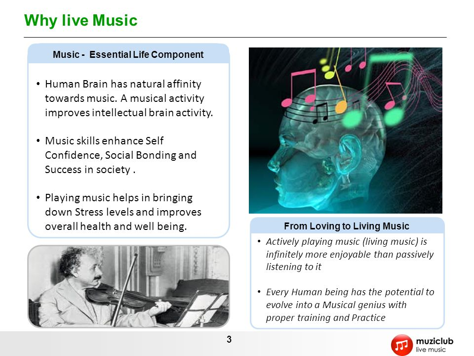 3 Why live Music Human Brain has natural affinity towards music.