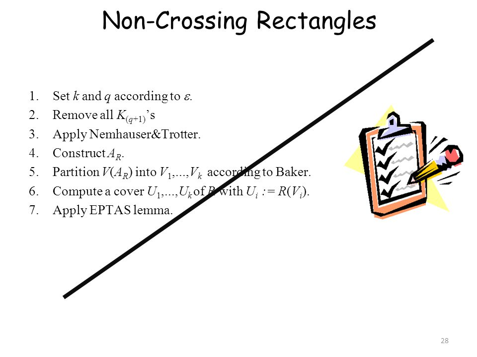 Non-Crossing Rectangles 1.Set k and q according to .