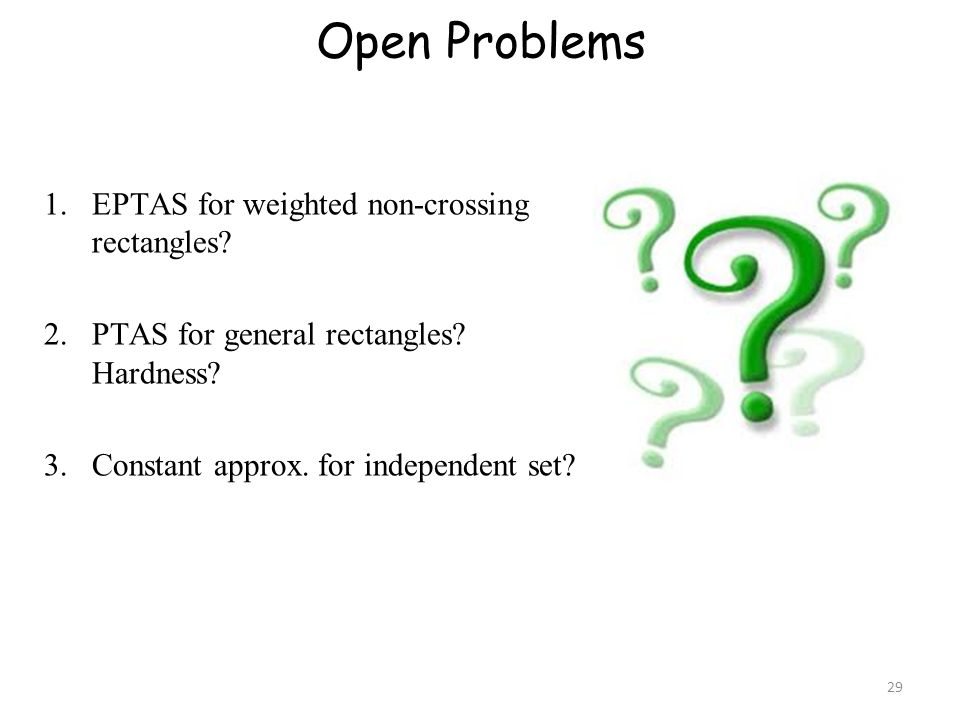 Open Problems 1.EPTAS for weighted non-crossing rectangles.
