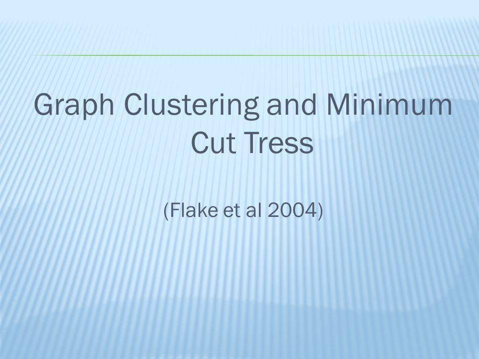 Graph Clustering and Minimum Cut Tress (Flake et al 2004)