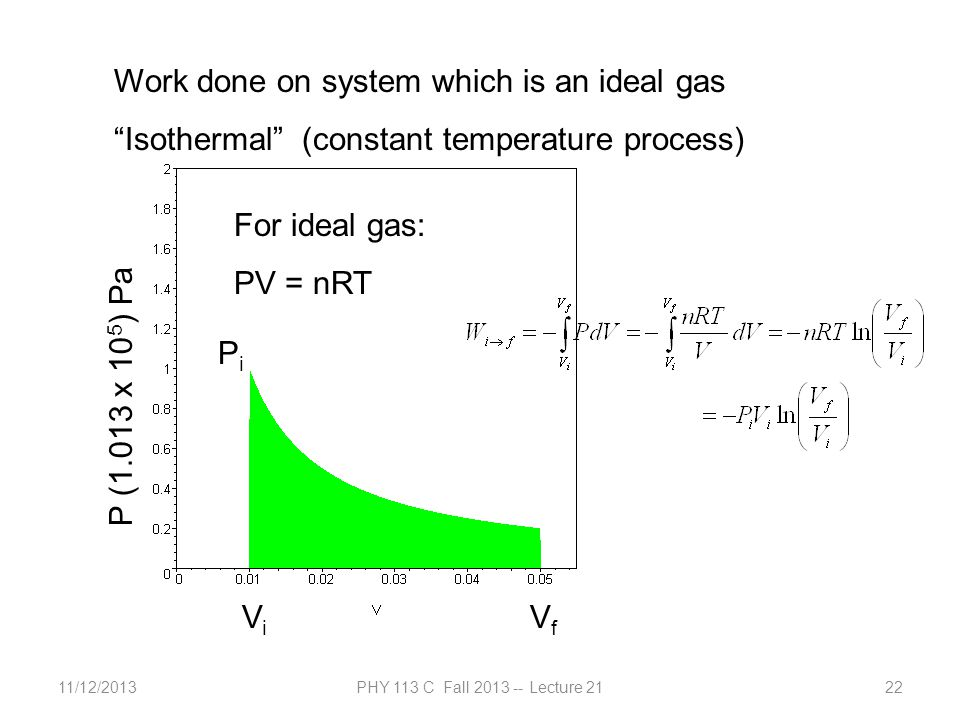 """11/12/2013PHY 113 C Fall 2013 -- Lecture 2122 Work done on system which is an ideal gas """"Isothermal"""" (constant temperature process) P (1.013 x 10 5 )"""