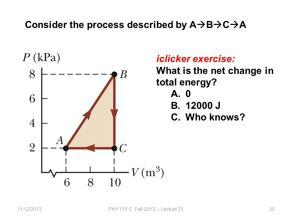 11/12/2013PHY 113 C Fall 2013 -- Lecture 2135 Consider the process described by A  B  C  A iclicker exercise: What is the net change in total energ