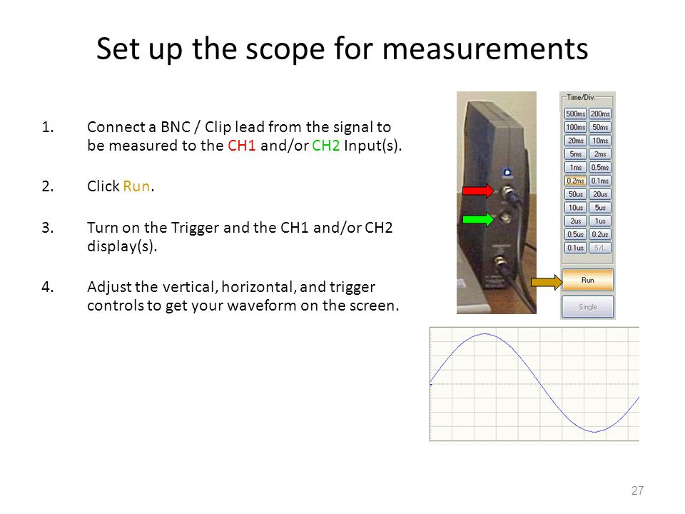 28 Visually measuring the waveform On the scope display, Vmax, Vmin, Vpp, and period can be obtained by counting the number of divisions multiplying by the vertical scale for voltages multiplying by the horizontal scale for time period.