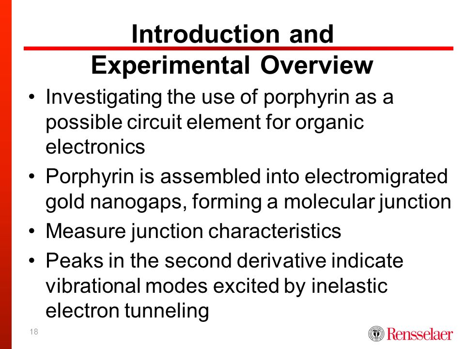 Introduction and Experimental Overview Investigating the use of porphyrin as a possible circuit element for organic electronics Porphyrin is assembled