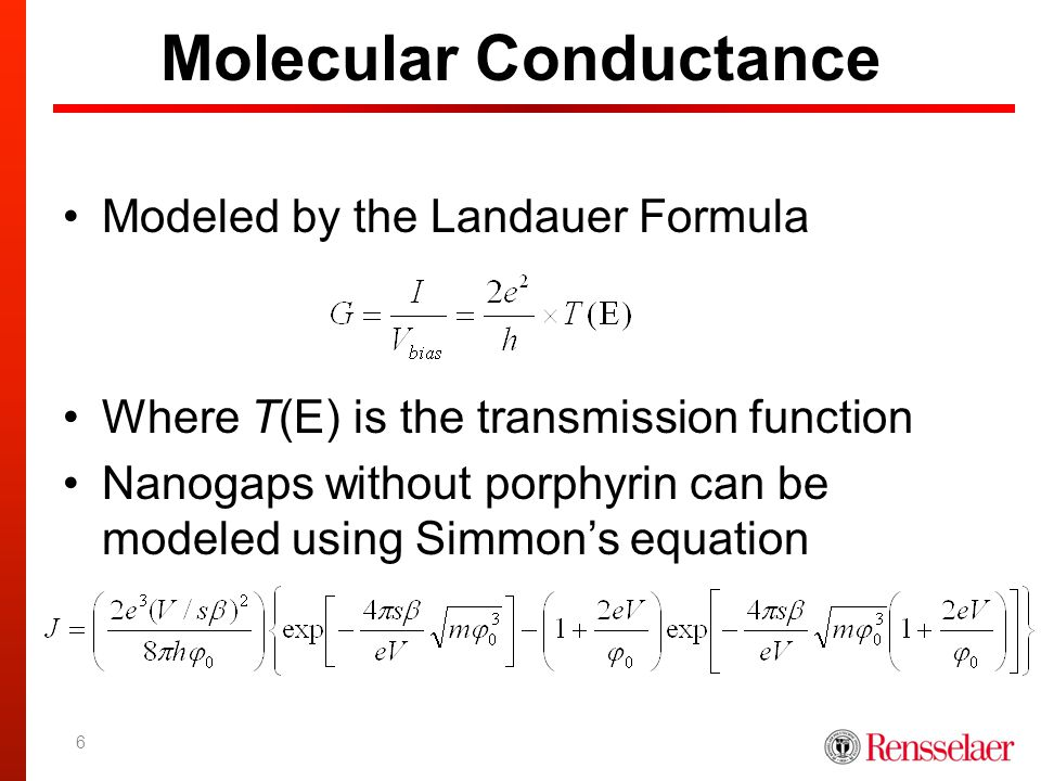 Molecular Conductance Modeled by the Landauer Formula Where T(E) is the transmission function Nanogaps without porphyrin can be modeled using Simmon's