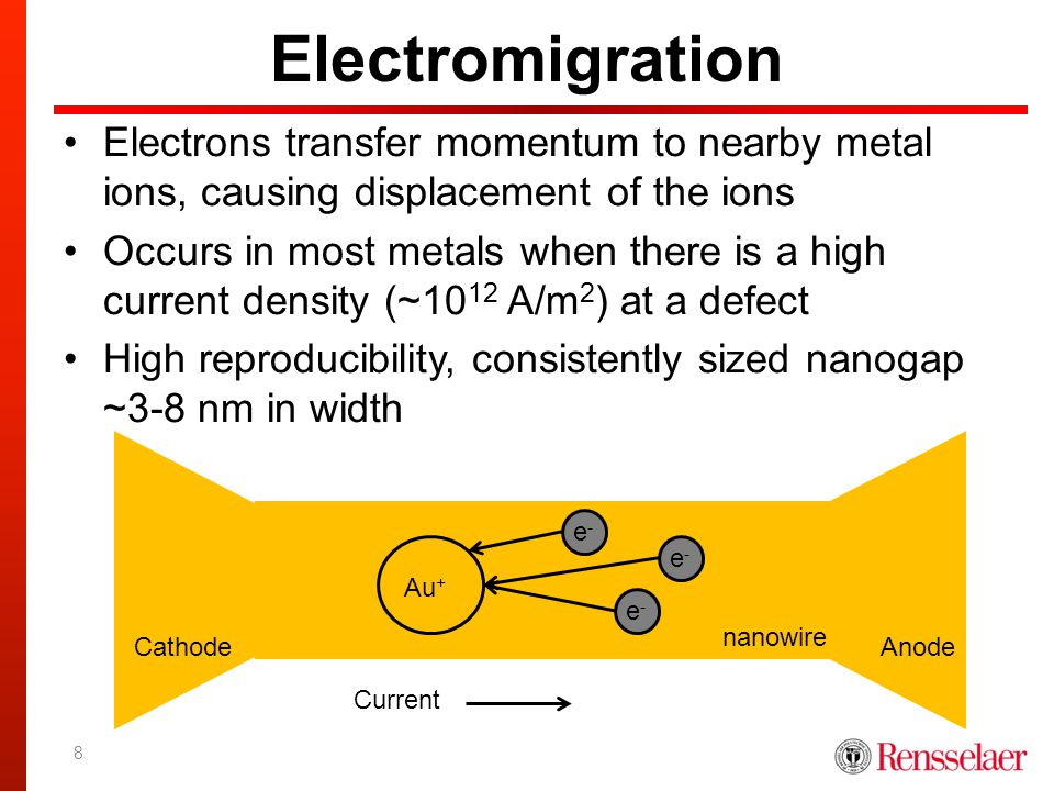 Electromigration Electrons transfer momentum to nearby metal ions, causing displacement of the ions Occurs in most metals when there is a high current