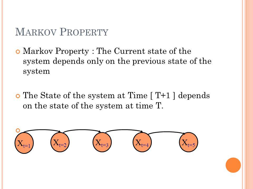 D ISCRETE M ARKOV M ODEL : E XAMPLE A Discrete Markov Model with 5 states.