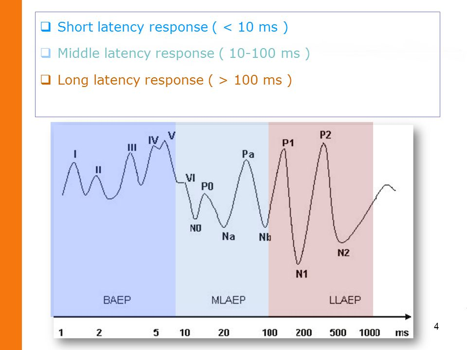  Short latency response ( < 10 ms )  Middle latency response ( 10-100 ms )  Long latency response ( > 100 ms ) 4