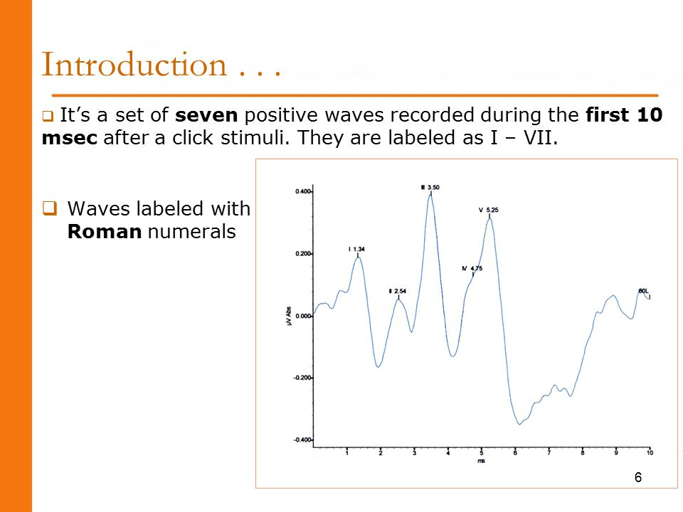 Interpretation...Wave I : delayed or absent may indicate cochlear lesion.