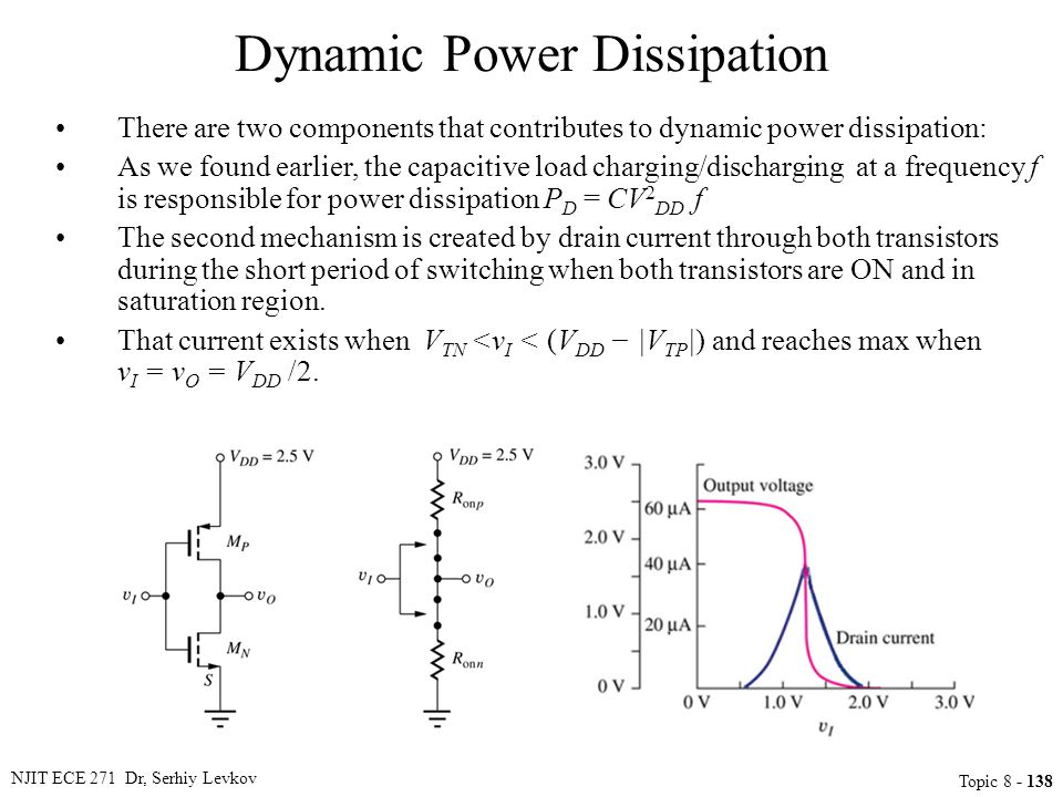 NJIT ECE 271 Dr, Serhiy Levkov Topic 8 - 138 Dynamic Power Dissipation There are two components that contributes to dynamic power dissipation: As we f