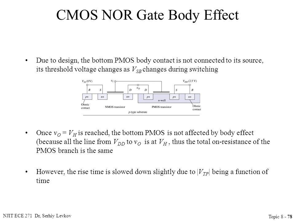 NJIT ECE 271 Dr, Serhiy Levkov Topic 8 - 78 CMOS NOR Gate Body Effect Due to design, the bottom PMOS body contact is not connected to its source, its